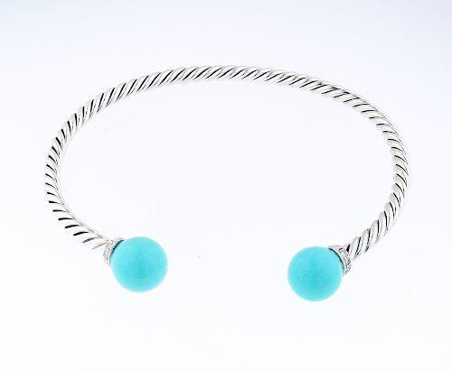 David Yurman Sterling Silver Turquoise Diamond Solari