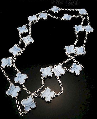 Van Cleef Alhamba 18K Chalcedony 20 Motif Necklace