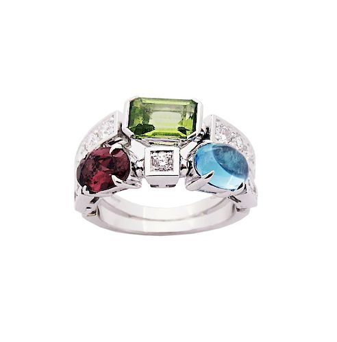 BVLGARI Two Row 18k Diamond & Multicolor Allegra Ring