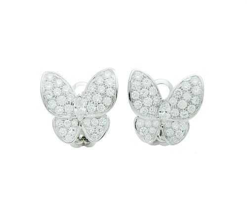 Van Cleef & Arpels  White Gold Diamond  Two Butterfly