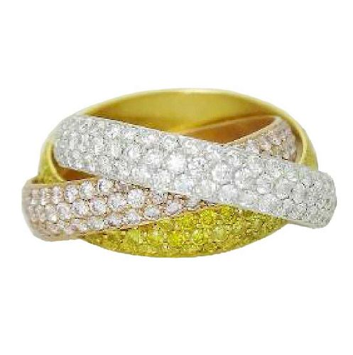 Cartier White Yellow Pink 18k Gold & Diamond Band Ring
