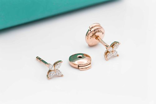 Tiffany & Co 18K Yellow Gold 0.21ct  Diamond Earrings