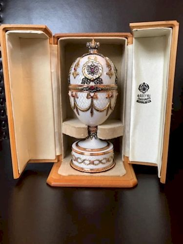 Russian Huge Jeweled Gold Diamond Guilloche Egg