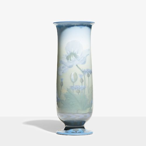 Carl Schmidt for Rookwood, exceptional and tall Ivory Jewel Porcelain vase with poppies and cornflowers