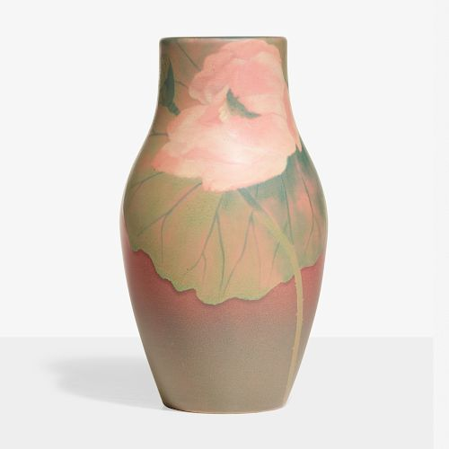 Harriet Wilcox for Rookwood, Painted Mat vase with lotuses