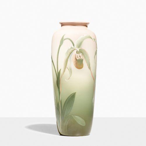 Carl Schmidt for Rookwood, Iris Glaze vase with slipper orchid