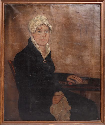 Ammi Phillips Portrait of Lady, Oil on Canvas