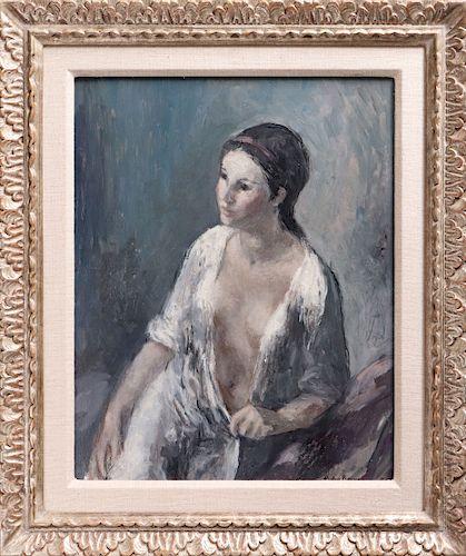 """Pedro Bueno """"Portrait of a Woman"""" Oil on Board"""