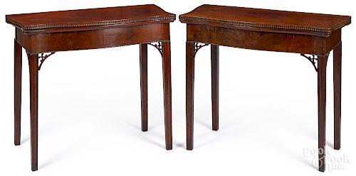 Pair of Rhode Island mahogany card tables