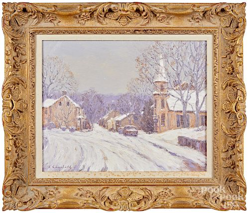 Laurence Campbell, oil on canas winter scene