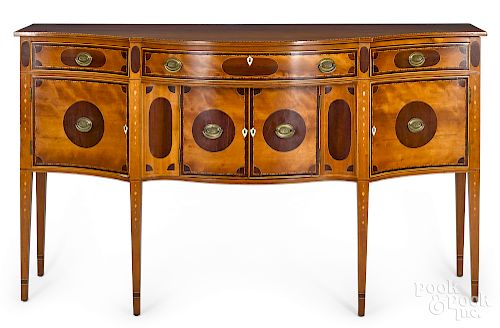 Federal inlaid cherry and mahogany sideboard