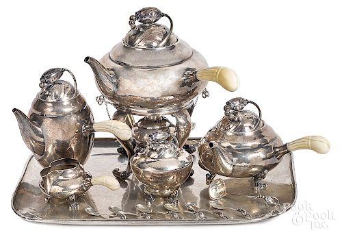 Georg Jensen sterling blossom pattern tea service