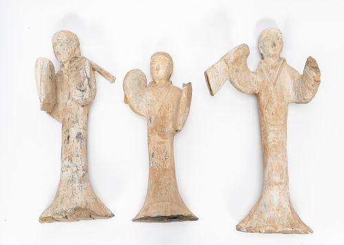 3 Han Dynasty Earthenware Female Dancing Figures