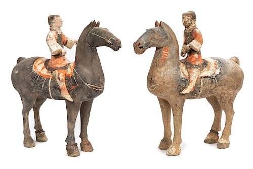 Two Han Dynasty Equestrian Pottery Figures