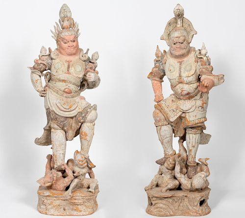 Two Chinese Tang Dynasty Earthenware Lokapala