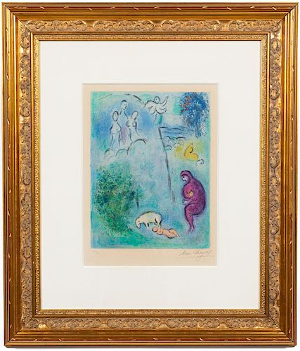 """Marc Chagall """"Daphnis Discovers Chloe"""" Lithograph"""