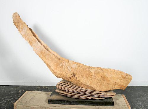 """David Nash """"Wafer Vessel"""" Carved Wood Sculpture"""