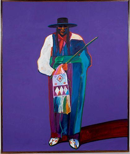 "Large, John Nieto ""Indian With Pipe Bag"" Acrylic"