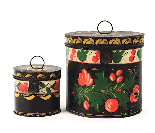 2 PIECE TINWARE CANISTERS. CONNECTICUT. EARLY 19TH CENTURY.