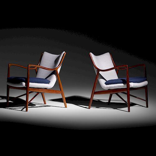 Finn Juhl, lounge chairs model NV-45, pair