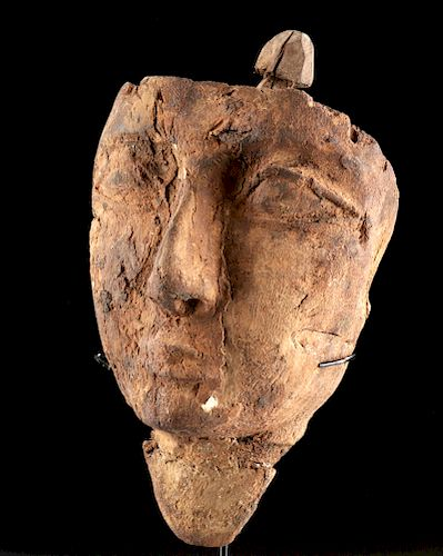 Egyptian Painted Carved Wood Mummy Mask