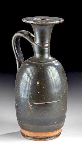 Tall Greek Apulian Glazed Pottery Lekythos