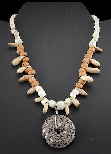 Necklace - Sumerian Faience + Roman Bone & Glass Bead