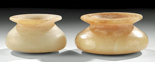 Fine Bactrian Carved Alabaster Jars (pair)