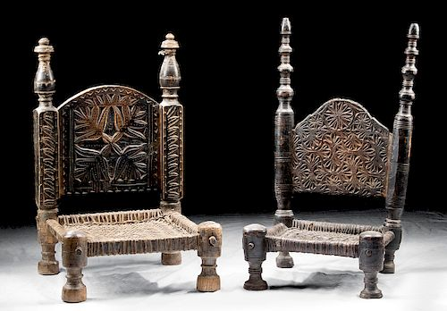 19th C. Indian Wood / Leather Chairs (Set of 2)
