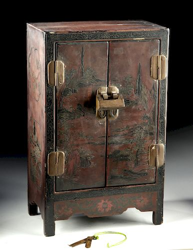 19th C. Chinese Lacquered Wood Desk Cabinet