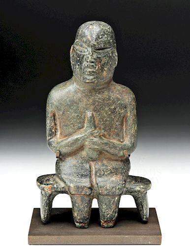 Olmec Stone Seated Figure, Examined by Joralemon