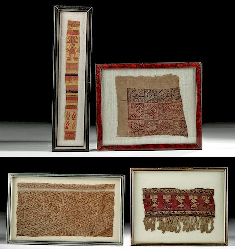 Lot of 4 Framed Chancay & Chimu Textile Fragments
