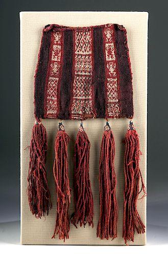 Inca Polychrome Textile Coca Bag w/ Tassels