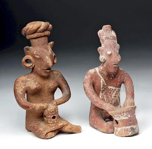 Pair of Jalisco Seated Ceramic Sheepface Female Figures