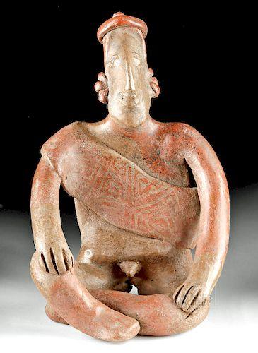 Fine Jalisco Burnished Pottery Seated Male Figure