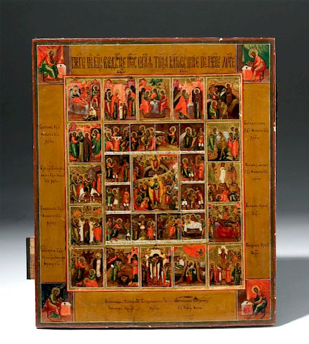 Superb 19th C. Russian Icon - Resurrection & Feasts
