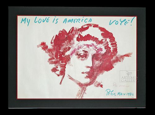 """Signed Peter Max """"My Love is America"""" Poster - 1976"""