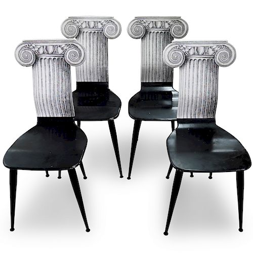 (4 Pc) Fornasetti 'Capitello Ionico' Chairs