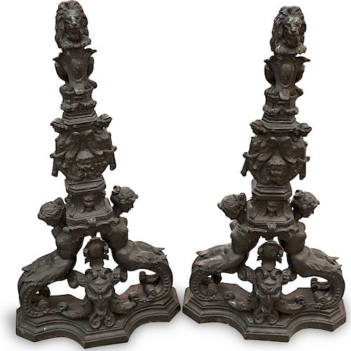 Antique Neoclassical Bronze Andirons