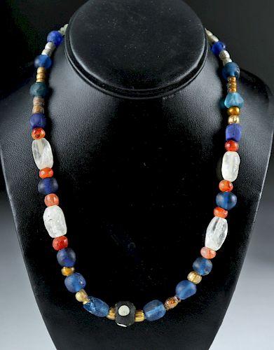Necklace Roman / Phoenician Glass, Crystal, & Carnelian