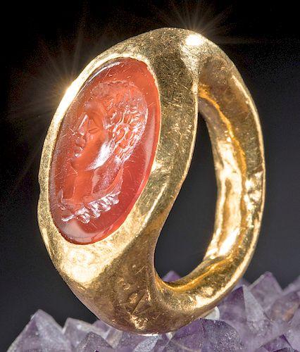 Roman 22K+ Gold Ring w/ Carnelian Intaglio