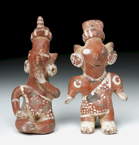 Pair of Fine Jalisco Pottery Sheepface Figures