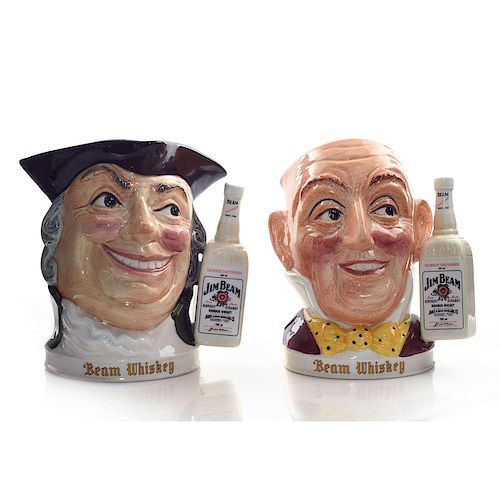 GROUP OF 2 STAFFORDSHIRE JIM BEAM WHISKY DECANTER JUGS