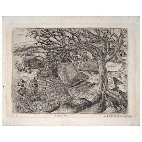 "GABRIEL FERNÁNDEZ LEDESMA, Ladrilleras (""Brickworks""), Signed, Dry point engraving 1 /10 4.7 x 6.2"" (12 x 16 cm)"