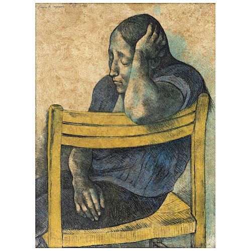 "FRANCISCO ZÚÑIGA, Muchacha en una silla, 1982 (""Girl on a Chair, 1982""), Screenprint in 5 colors, 23.2 x 17.3"" (59 x 44 cm)"
