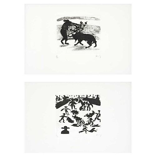 """SERGIO HERNÁNDEZ, Sin título, de la serie Tauromaquia (""""Untitled, from the Bullfighting Series""""), Engravings 19 / 50, 5.9 x 6.6"""" (15 x 17 cm) each"""