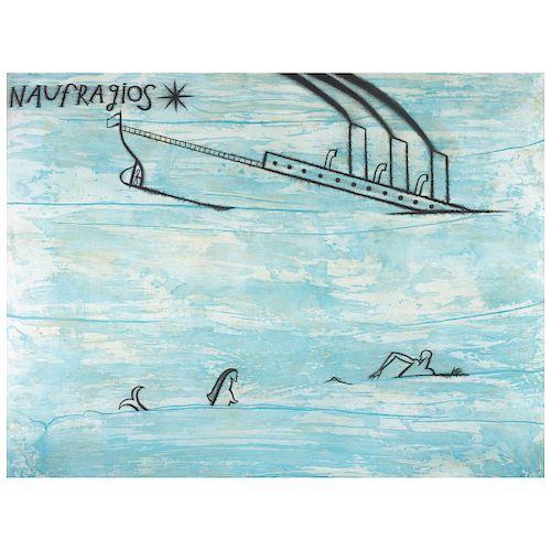 "JOSÉ BEDIA, Naufragios, 1998 (""Shipwrecks, 1998""), Signed, Screenprint 7 / 50, 33.4 x 44"" (85 x 112 cm)"