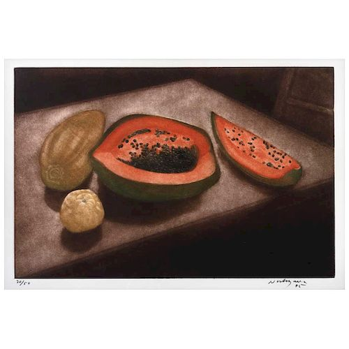 "LUIS NISHIZAWA, Sin título (""Untitled""), Signed & dated 95, Screenprint 30 / 50, 14.3 x 21.8"" (36.5 x 55.5 cm)"