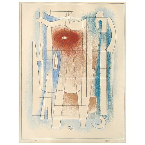 """CARLOS MÉRIDA, Sin título (""""Untitled""""), Signed in pencil. Signed and dated 1966, Lithograph 32 / 50, 12.2 x 10.6"""" (31 x 27 cm)"""