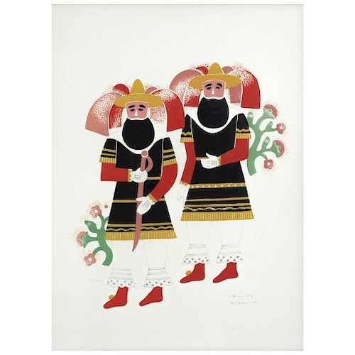 "CARLOS MÉRIDA, Dos hombres de Huejotzingo, de la carpeta Carnival in Mexico (""Two Men from Huejotzingo""), Screenprint w/o printing number"